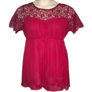 Motherhood Maternity Red with Crochet Lace